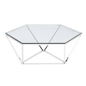 Louisa Silver Coffee Table with Tempered Glass