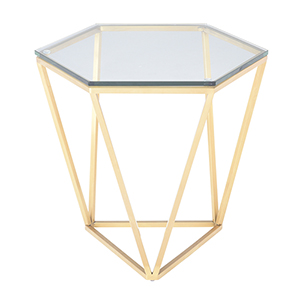 Louisa Gold Side Table with Tempered Glass
