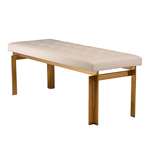 Vincent Matte White and Gold 47-Inch Occasional Bench