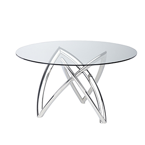 Martina Silver 53-Inch Dining Table with Tempered Glass