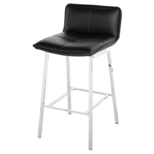 Sabrina Matte Black and Silver Counter Stool