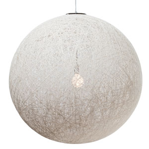 String White 35.5-Inch One-Light Pendant