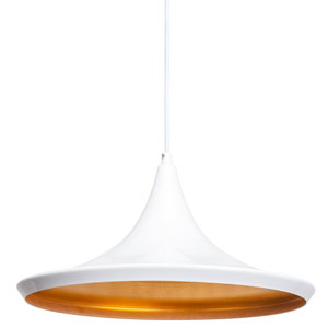 Euclid White and Matte Gold 12-Inch One-Light Pendant
