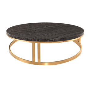 Nicola Matte Black and Gold Coffee Table