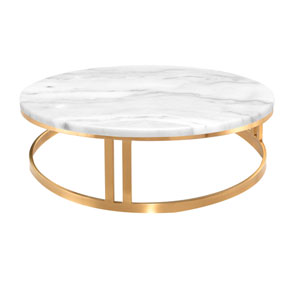 Nicola Matte White and Gold Coffee Table