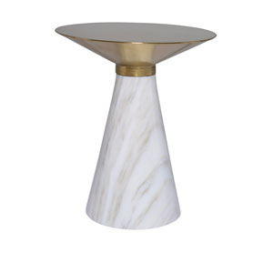 Iris Brushed Gold and White Side Table