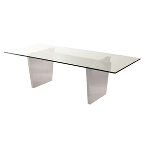 Aiden Clear Top and Silver Dining Table