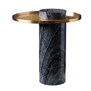 Pillar Brushed Gold Side Table