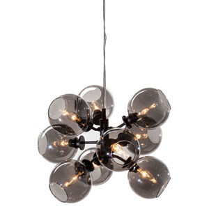 Atom Black 17.5-Inch Nine-Light Pendant with Grey Glass
