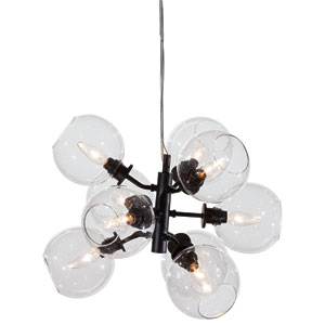 Atom Black 17.5-Inch Nine-Light Pendant with Clear Glass