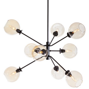 Atom Black Nine-Light Pendant with Champagne Glass