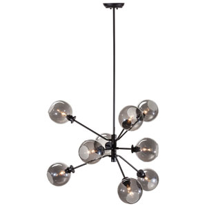 Atom Black Nine-Light Pendant with Grey Glass