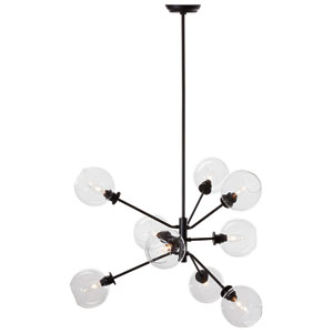 Atom Black Nine-Light Pendant with Clear Glass