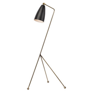 Lucille Black and Antique Brass One-Light Floor Lamp