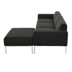Bryce Matte Storm Grey Triple Seat Sofa