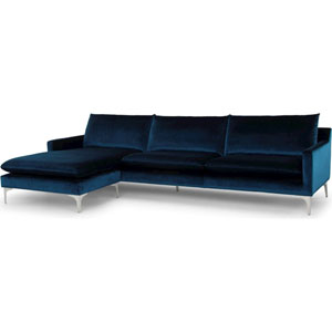 Anders Matte Midnight Blue Sectional Sofa