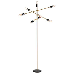 Byron Antique Brass Seven-Light Floor Lamp