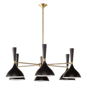 Nella Matte Black Six-Light Chandelier
