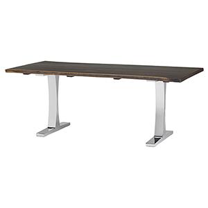 Toulouse Boule Seared 78-Inch Dining Table with Polished Stainless Steel Legs
