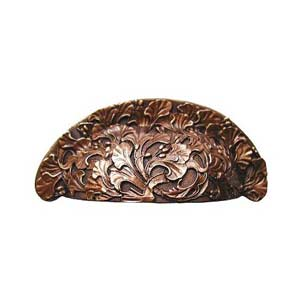 Antique Copper Florid Leaves Bin Pull