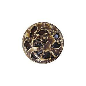 Antique Brass Florid Leaves Knob