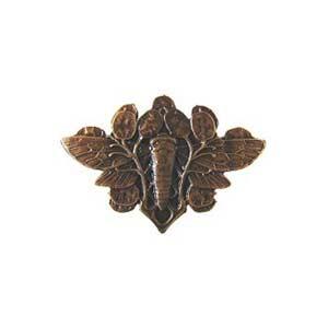 Dark Solid Bronze Cicada on Leaves Knob