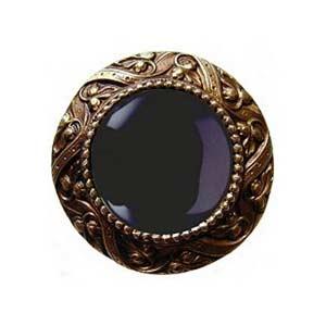 Antique Brass Victorian Jeweled Knob W/Onyx Stone