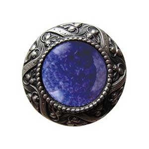 Pewter Victorian Jeweled Knob with Blue Sodalite Stone