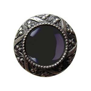 Pewter Victorian Jeweled Knob with Onyx Stone
