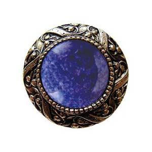 Brite Brass Victorian Jeweled Knob with Blue Sodalite Stone