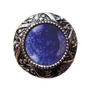Brite Nickel Victorian Jeweled Knob with Blue Sodalite Stone