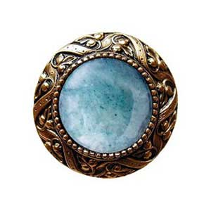 24 K Gold Plated Victorian Jeweled Knob with Green Aventurine Stone