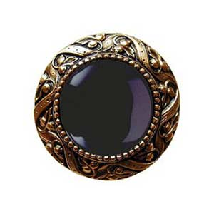 24 K Gold Plate Victorian Jeweled Knob with Onxy Stone