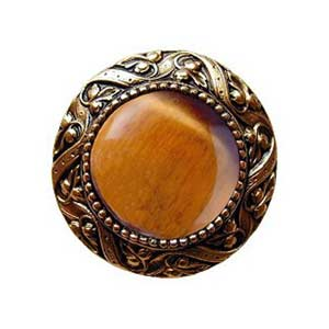 24 K Gold Plate Victorian Jeweled Knob with Tiger Eye Stone
