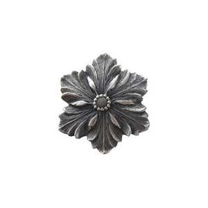 Antique Pewter Opulent Flower Knob