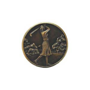 Antique Brass Lady of the Links Knob
