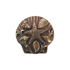 Antique Brass Seaside Collage Knob