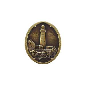 Antique Brass Guiding Lighthouse Knob