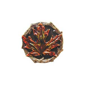 Hand Tinted Brass Maple Leaf Knob