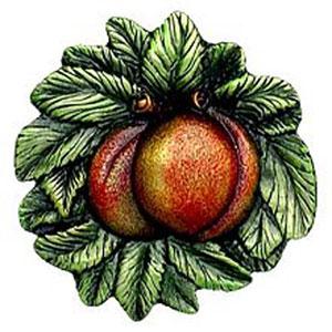 Antique Pewter Georgia Peach Knob Hand-Tinted