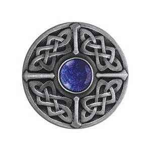 Pewter Blue Sodalite Celtic Jewel Knob