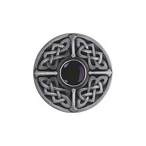 Antique Pewter Onyx Celtic Jewel Knob