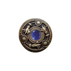 Antique Brass Blue Sodalite Jeweled Lily Knob
