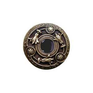 Antique Brass Onyx Jeweled Lily Knob