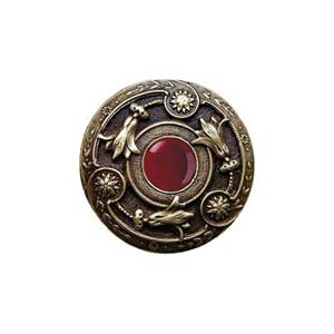 Antique Brass Red Carnelian Jeweled Lily Knob