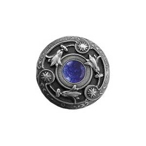Antique Pewter Blue Sodalite Jeweled Lily Knob