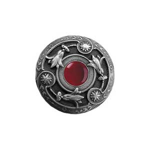 Antique Pewter Red Carnelian Jeweled Lily Knob