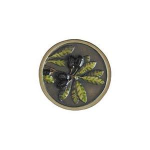 Hand Tinted Brass Olive Branch Knob