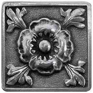 Brilliant Pewter Poppy Square Knob