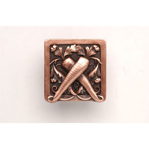 Antique Copper Leafy Carrot Knob